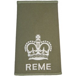 WO2 (Crown Only) REME Cream On Light Olive with Queen Elizabeth's Crown. Embroidered Warrant Officer rank badge