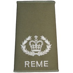 WO2 (RQMS) REME (Crown In Wreath) Cream On Light Olive with Queen Elizabeth's Crown. Embroidered Warrant Officer rank badge