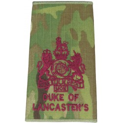 WO1 (RSM) Duke Of Lancaster's Regiment MTP Camo Rank Slide with Queen Elizabeth's Crown. Embroidered Warrant Officer rank badge