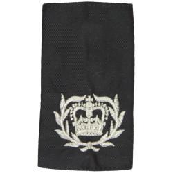 WO2 (RQMS) 11 EOD Regt RLC (Bomb Disposal) Silver On Black with Queen Elizabeth's Crown. Lurex Warrant Officer rank badge