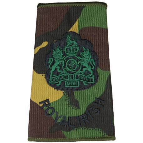 WO1 (RSM) Royal Irish (Royal Irish Regiment) DPM Camo Rank Slide with Queen Elizabeth's Crown. Embroidered Warrant Officer rank
