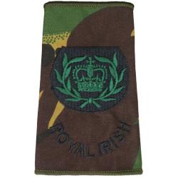 WO2 (RQMS) Royal Irish (Royal Irish Regiment) DPM Camo Rank Slide with Queen Elizabeth's Crown. Embroidered Warrant Officer rank