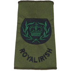 WO2 (RQMS) Royal Irish (Royal Irish Regiment) Olive Rank Slide with Queen Elizabeth's Crown. Embroidered Warrant Officer rank ba