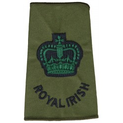 WO2 (Crown Only) Royal Irish (Royal Irish Regiment) Olive Rank Slide with Queen Elizabeth's Crown. Embroidered Warrant Officer r