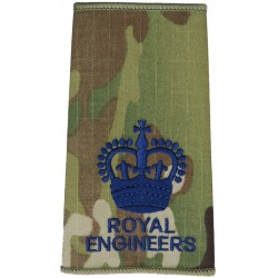 WO2 (Crown Only) Royal Engineers MTP Camo Rank Slide with Queen Elizabeth's Crown. Embroidered Warrant Officer rank badge