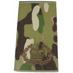 WO2 (RQMS) - Brown On MTP Camouflage Rank Slide with Queen Elizabeth's Crown. Embroidered Warrant Officer rank badge