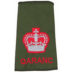 WO2 (Crown) QARANC (QA Royal Army Nursing Corps) Olive Rank Slide with Queen Elizabeth's Crown. Embroidered Warrant Officer rank