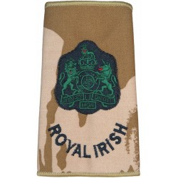 WO1 (RSM) Royal Irish (Royal Irish Regiment) Desert Camo Slide with Queen Elizabeth's Crown. Embroidered Warrant Officer rank ba