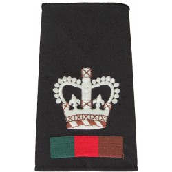 WO2 (Crown Only) Royal Tank Regiment Black + RTR Colours with Queen Elizabeth's Crown. Embroidered Warrant Officer rank badge