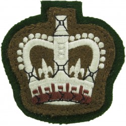 WO2 (Crown Only) Rank Badge (RRW) Sewn Onto Mid-Green with Queen Elizabeth's Crown. Embroidered Warrant Officer rank badge