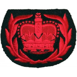 WO2 (RQMS) Rank Badge (Crown In Laurels) - Greatcoat Red On Black - Rare with Queen Elizabeth's Crown. Embroidered Warrant Offic
