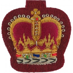 WO2 Rank Badge (Crown) - No.1 Dress Size - On Maroon Parachute Regiment with Queen Elizabeth's Crown. Bullion wire-embroidered W