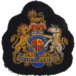 WO1 Rank Badge - No.1 Dress Size On Navy Blue with Queen Elizabeth's Crown. Bullion wire-embroidered Warrant Officer rank badge