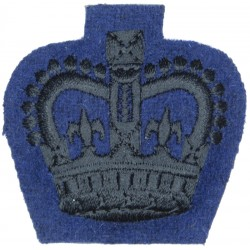 WO2 (Crown Only) Rank Badge (Queen's Gurkha Signals) Black On Dark Blue with Queen Elizabeth's Crown. Embroidered Warrant Office