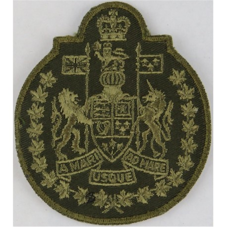 Canadian Forces Chief Warrant Officer Green On Olive with Queen Elizabeth's Crown. Embroidered Warrant Officer rank badge