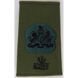 WO1 (RSM) Royal Green Jackets (With Bugle & RGJ) On Olive Green with Queen Elizabeth's Crown. Embroidered Warrant Officer rank b