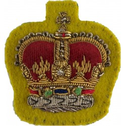 WO2 Rank Badge (Crown) - Glosters, R.Hamps, Gordons Mess Dress On Yellow with Queen Elizabeth's Crown. Bullion wire-embroidered