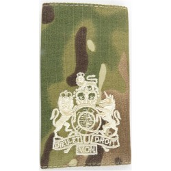 WO1 (RSM) - Ivory On MTP Camouflage Rank Slide with Queen Elizabeth's Crown. Embroidered Warrant Officer rank badge