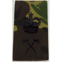 Pioneer WO2 (Crown Over Crossed Axes) Black On DPM Camo with Queen Elizabeth's Crown. Embroidered Warrant Officer rank badge