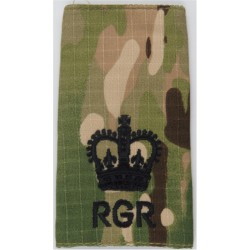 WO2 (Crown Only) RGR (Royal Gurkha Rifles) Black On MTP Camo with Queen Elizabeth's Crown. Embroidered Warrant Officer rank badg