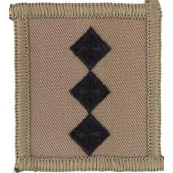 Captain's Rank Badge - For Combat Helmet Black On Sand  Embroidered Officer rank badge