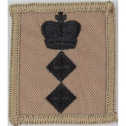 Colonel's Rank Badge - For Combat Helmet Black On Sand with Queen Elizabeth's Crown. Embroidered Officer rank badge