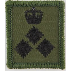 Brigadier's Rank Badge - For Combat Helmet Black On Olive Green with Queen Elizabeth's Crown. Embroidered Officer rank badge