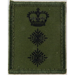 Colonel's Rank Badge - Small On Velcro Black On Olive Green with Queen Elizabeth's Crown. Woven Officer rank badge