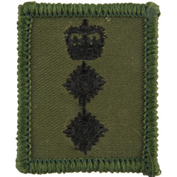 Colonel's Rank Badge - For Combat Helmet Black On Olive Green with Queen Elizabeth's Crown. Embroidered Officer rank badge