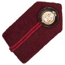 Brigadier's Dull Cherry Gorget - Crimson Gimp - RAMC Shirt Collar Size with Queen Elizabeth's Crown. Anodised Officer rank badge