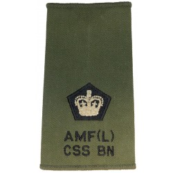 AMF(L) CSS Bn Major - Black/White On Olive Rank Slide - RLC with Queen Elizabeth's Crown. Embroidered Officer rank badge