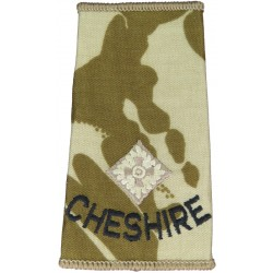 Cheshire Second Lieutenant (Cheshire Regiment) Desert Camo Slide  Embroidered Officer rank badge