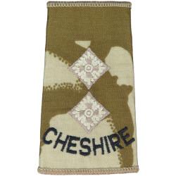 Cheshire Lieutenant (Cheshire Regiment) Desert Camo Slide  Embroidered Officer rank badge