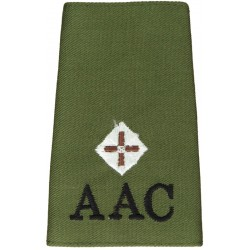 AAC Second Lieutenant (Army Air Corps) Olive Rank Slide  Embroidered Officer rank badge