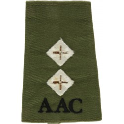 AAC Lieutenant (Army Air Corps) Olive Rank Slide  Embroidered Officer rank badge