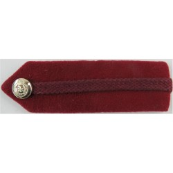 Brigadier's Dull Cherry Gorget - Crimson Gimp - RAMC No.1 Dress Size with Queen Elizabeth's Crown. Anodised Officer rank badge