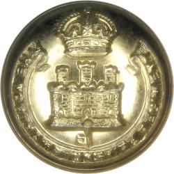 Royal Irish Rangers 23.5mm - Black Queen's Crown. Plastic Military uniform button