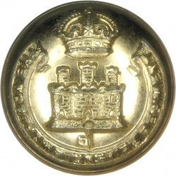 Royal Irish Rangers 23.5mm - Black with Queen Elizabeth's Crown. Plastic Military uniform button