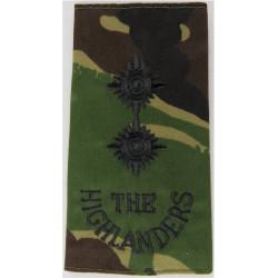 The Highlanders Lieutenant - Black On Camouflage Rank Slide 1994-2006  Embroidered Officer rank badge