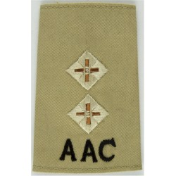 AAC Lieutenant - Army Air Corps - White On Sand Rank Slide  Embroidered Officer rank badge