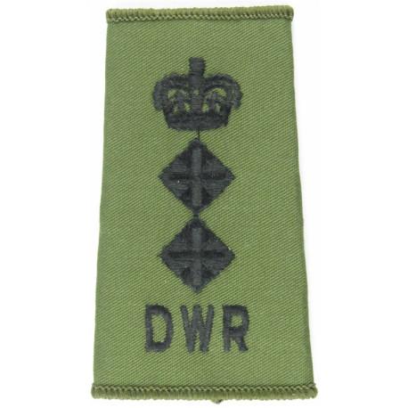 DWR Colonel (Duke Of Wellington's Regiment) On Olive Rank Slide with Queen Elizabeth's Crown. Embroidered Officer rank badge