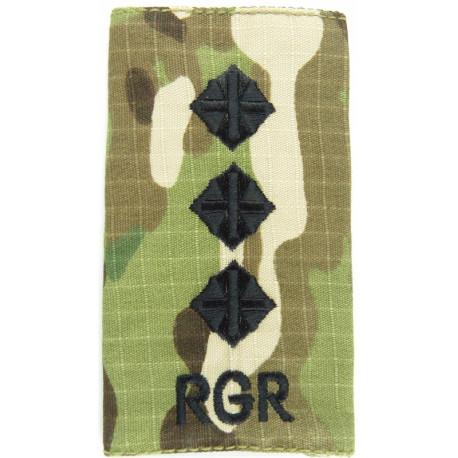 RGR - Captain (Royal Gurkha Rifles) - Black On MTP Camo Rank Slide  Embroidered Officer rank badge