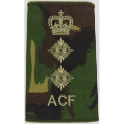 ACF Colonel (Army Cadet Force) Rank Slide Brown On DPM Camo with Queen Elizabeth's Crown. Embroidered Officer rank badge