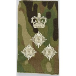 Brigadier - Cream On MTP Camouflage Rank Slide with Queen Elizabeth's Crown. Embroidered Officer rank badge