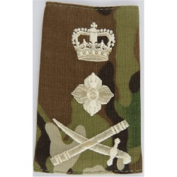 General's Rank Slide - Cream On MTP Camouflage Sword Pointing Left with Queen Elizabeth's Crown. Embroidered Officer rank badge