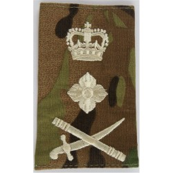 General's Rank Slide - Cream On MTP Camouflage Sword Pointing Right with Queen Elizabeth's Crown. Embroidered Officer rank badge