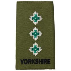 Yorkshire Regiment Captain Rank Slide On Olive  Embroidered Officer rank badge