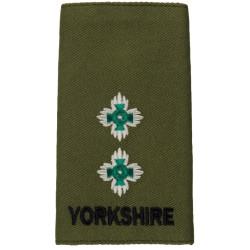 Yorkshire Regiment Lieutenant Rank Slide On Olive  Embroidered Officer rank badge