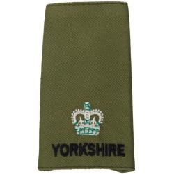 Yorkshire Regiment Major Rank Slide On Olive with Queen Elizabeth's Crown. Embroidered Officer rank badge