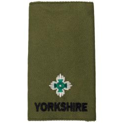 Yorkshire Regiment Second Lieutenant Rank Slide On Olive  Embroidered Officer rank badge